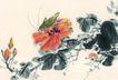 百态昆虫0022,百态昆虫,中国国画,蝈蝈 鲜花 花蕊