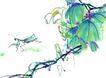 百态昆虫0032,百态昆虫,中国国画,绿叶 蝗虫 花朵