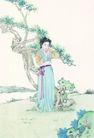窈窕淑女0003,窈窕淑女,中国国画,假山 羞涩 散步 花园 脸红
