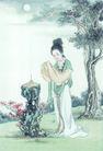 窈窕淑女0005,窈窕淑女,中国国画,香炉 圆月 祈福 心愿 虔诚