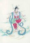 窈窕淑女0010,窈窕淑女,中国国画,腰鼓 舞姿 欢快 表演 服装