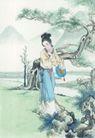窈窕淑女0013,窈窕淑女,中国国画,扇子 偏头 烦恼 水袖 远山