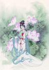 窈窕淑女0014,窈窕淑女,中国国画,裙摆 荷花 优美 姿势 荷叶