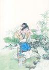 窈窕淑女0019,窈窕淑女,中国国画,河流 梳洗 姿势