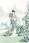 窈窕淑女0020,窈窕淑女,中国国画,淑女 羞涩 抱扇