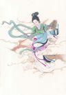 窈窕淑女0021,窈窕淑女,中国国画,嫦娥 仙女 飞舞