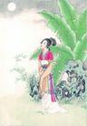 窈窕淑女0022,窈窕淑女,中国国画,月亮 怨妇 花园