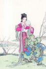 窈窕淑女0023,窈窕淑女,中国国画,美人 假山 镜子
