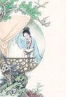 窈窕淑女0026,窈窕淑女,中国国画,淑女 假山 帷幕