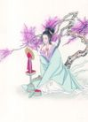 窈窕淑女0027,窈窕淑女,中国国画,梳妆 桃花 梳妆镜