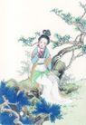 窈窕淑女0036,窈窕淑女,中国国画,青松 树枝 坐着