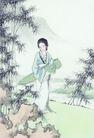 窈窕淑女0039,窈窕淑女,中国国画,竹子 竹叶 古筝