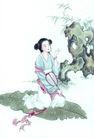 窈窕淑女0051,窈窕淑女,中国国画,古代女子 顽石 扇子
