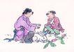 童心童戏0020,童心童戏,中国国画,儿童 喂养 白兔