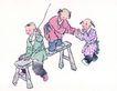 童心童戏0021,童心童戏,中国国画,顽童 板凳 游戏