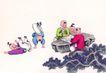 童心童戏0030,童心童戏,中国国画,幼年 植物 玩耍