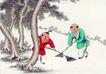 童心童戏0035,童心童戏,中国国画,扫地 打扫卫生 扫帚