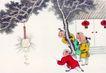 童心童戏0036,童心童戏,中国国画,灯笼 孩童 过节