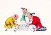 童心童戏0039,童心童戏,中国国画,下棋 围棋 棋盘