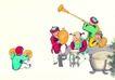 童心童戏0052,童心童戏,中国国画,可爱顽童 耍乐器 吹唢呐
