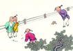 童心童戏0053,童心童戏,中国国画,院子 孩童 玩耍