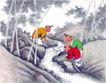童心童戏0056,童心童戏,中国国画,山林 溪水 捕鱼的孩子