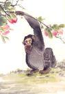 飞禽走兽0003,飞禽走兽,中国国画,攀抓 树枝 摘果