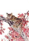 飞禽走兽0022,飞禽走兽,中国国画,猎豹 斑纹 树干