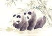 飞禽走兽0026,飞禽走兽,中国国画,保护动物 熊猫 国宝