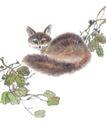 飞禽走兽0035,飞禽走兽,中国国画,家猫 枝叶 走兽