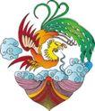 吉祥动物0052,吉祥动物,中国民间艺术,卷云 云上 彩色凤凰