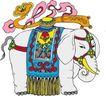 吉祥动物0053,吉祥动物,中国民间艺术,白象 尖牙 毯子
