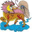 吉祥动物0058,吉祥动物,中国民间艺术,大狮子 脚踩祥云 片片鳞甲