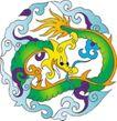 吉祥动物0074,吉祥动物,中国民间艺术,青龙 盘锯 吉祥