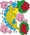 吉祥动物0075,吉祥动物,中国民间艺术,荷花 荷叶 金鲤