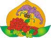 吉祥动物0097,吉祥动物,中国民间艺术,仙桃 红花 吉祥