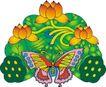 吉祥动物0098,吉祥动物,中国民间艺术,蝴蝶 莲蓬 莲子