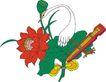 吉祥动物0100,吉祥动物,中国民间艺术,仙鹤 琴弦 花朵