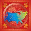 014,吉祥生肖,中国民间艺术,牛 红色 喜庆