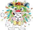 兔,吉祥生肖,中国民间艺术,白兔 身后 兽王