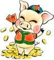 猪,吉祥生肖,中国民间艺术,属猪 可爱 金币