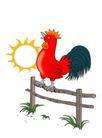 圣诞新年0036,圣诞新年,中国民间艺术,公鸡 动物 太阳