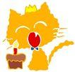 彩绘0091,彩绘,中国民间艺术,卡通 猫咪 皇冠
