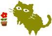 彩绘0100,彩绘,中国民间艺术,小猫 花盆 红花