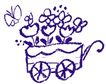 彩绘0122,彩绘,中国民间艺术,轮廓 形状 车子 花朵 蝴蝶