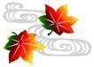 彩绘0124,彩绘,中国民间艺术,树叶 枫叶 彩色 云彩 飞舞