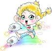 恭贺节庆0051,恭贺节庆,中国民间艺术,彩绘图 女孩 绵羊