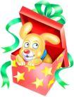 恭贺节庆0052,恭贺节庆,中国民间艺术,礼盒 小狗 绿色丝带