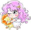 恭贺节庆0053,恭贺节庆,中国民间艺术,可爱女孩 眨眼 玩具狮子