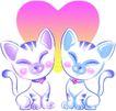 恭贺节庆0054,恭贺节庆,中国民间艺术,喜庆图 猫咪 红心